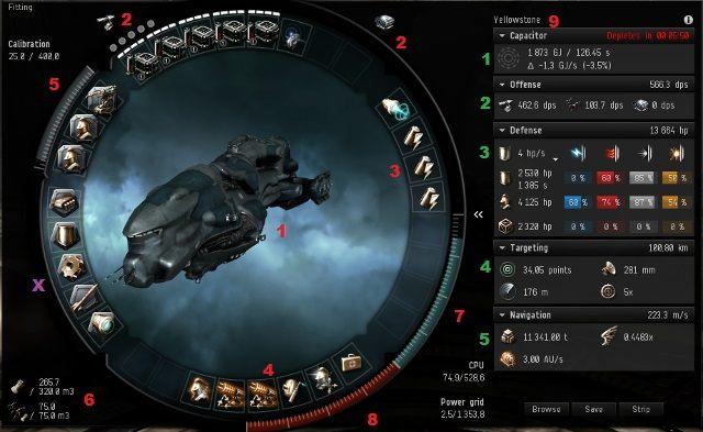 Okienko wyposażenia posiada ogromną ilość szczegółów, z których każdy ma niebagatelne znaczenie dla twojego bezpieczeństwa i sukcesu w otwartej przestrzeni kosmicznej - Ważne elementy interfejsu - Pierwsze kroki - EVE Online - poradnik do gry