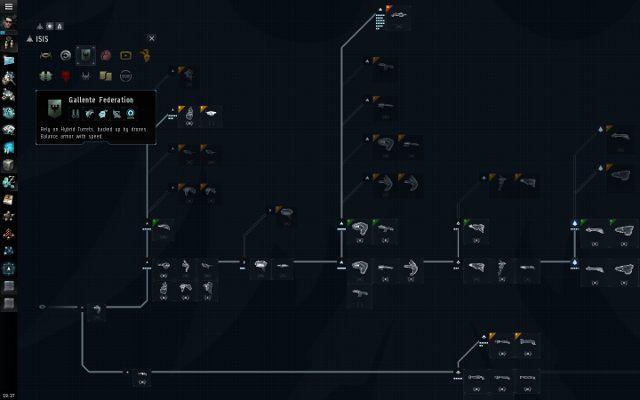 ISIS (InterBus Identufication System) pokazuje drzewko okrętów danej rasy wraz z potrzebnymi umiejętnościami do ich pilotowania oraz z Certyfikatami, czyli zestawami umiejętności, które warto zdobyć by poprawić osiągi danego okrętu, choć niektóre są w ogóle niepotrzebne przy danym stylu rozgrywki - Ważne elementy interfejsu - Pierwsze kroki - EVE Online - poradnik do gry