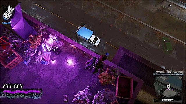 Pozostawaj przez cały czas na dachach budynków, nie dając się dzięki temu zauważyć kierowcy furgonetki - 7a - Trash the Stash - Opis przejścia - inFamous: Second Son - poradnik, opis przejścia, miasto