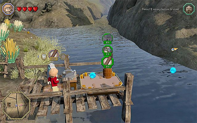 Wybieraj surowce i przeznaczaj je na budowę mostu - Śródziemie - Dotarcie do Siedzib Trolli | Opis przejścia - LEGO The Hobbit - poradnik do gry