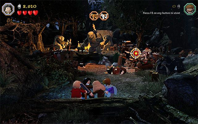 Musisz trafić w tarczę, dzięki czemu wypłoszysz sowę - Etap 4 (Roast Mutton) - Oswobodzenie koni | Opis przejścia - LEGO The Hobbit - poradnik do gry