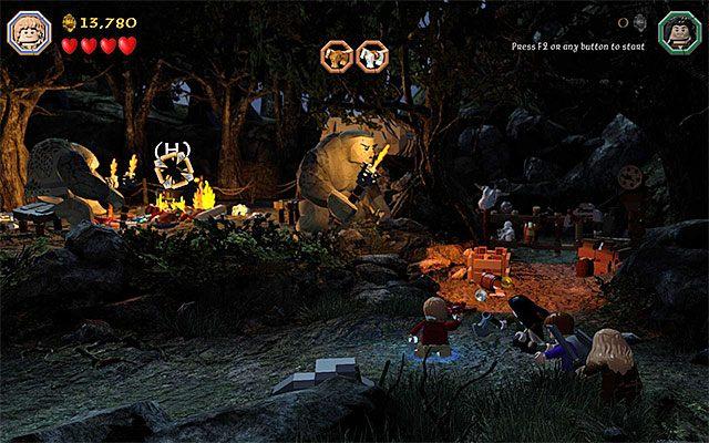 Niezależnie od tego jak sobie poradzisz w mini-grze w okolicy pojawi się nowy interaktywny przedmiot - homar - Etap 4 (Roast Mutton) - Oswobodzenie koni | Opis przejścia - LEGO The Hobbit - poradnik do gry