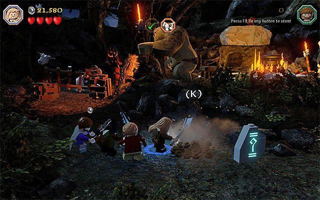 Wyrusz teraz w lewo i wybierz nową ścieżkę, która została odblokowana przez uciekającego konia - Etap 4 (Roast Mutton) - Oswobodzenie koni | Opis przejścia - LEGO The Hobbit - poradnik do gry