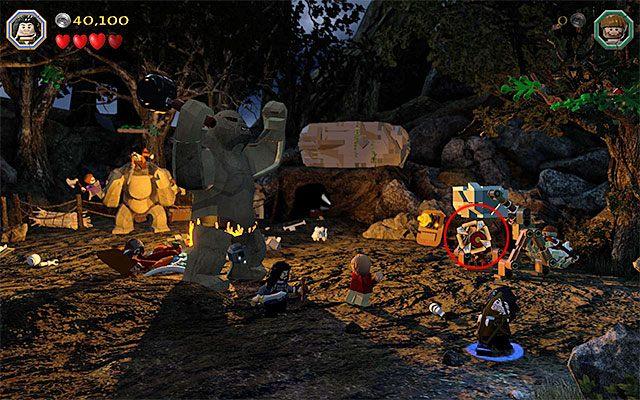 Zainteresuj się prawą częścią obozowiska - Etap 4 (Roast Mutton) - Bitwa z trollami | Opis przejścia - LEGO The Hobbit - poradnik do gry