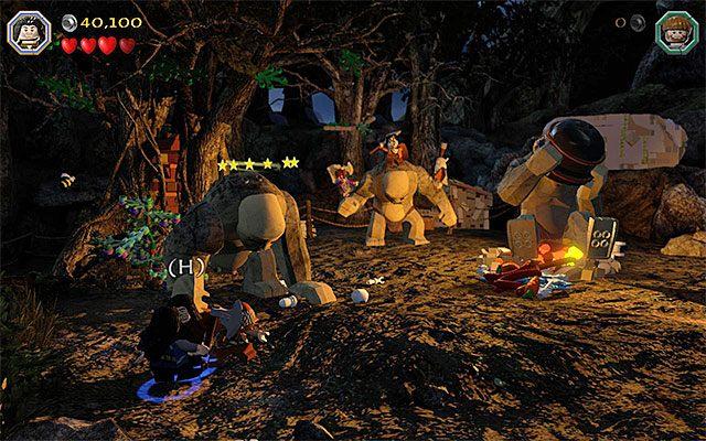 Ogłusz drugiego trolla dzięki akcji zespołowej - Etap 4 (Roast Mutton) - Bitwa z trollami | Opis przejścia - LEGO The Hobbit - poradnik do gry