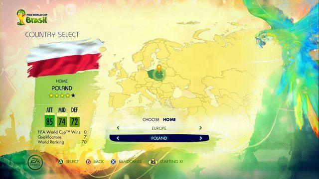 Zabawę w tym trybie rozpoczynamy od wybrania reprezentacji, z której będzie pochodził kontrolowany przez nas zawodnik - Captain Your Country - Tryby gry - 2014 FIFA World Cup Brazil - poradnik do gry