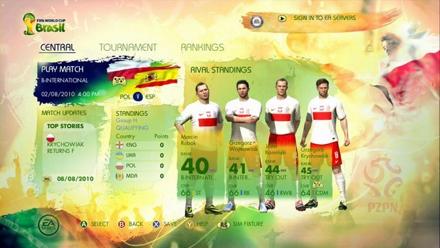 Po stworzeniu nowego pliku zapisu naszym oczom ukazuje się panel zarządzania - Captain Your Country - Tryby gry - 2014 FIFA World Cup Brazil - poradnik do gry