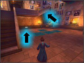 Po ujrzeniu Rona i Hermiony zejdź po schodach na dół - W drodze do pokoju - Powitanie - Harry Potter i Komnata Tajemnic - poradnik do gry