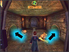 Idź korytarzem, ogłusz dwa ślimaki i wrzuć je tam, gdzie pokazany jest ich symbol, a dostaniesz parę fasolek - Sala Treningowa Rictusempry - Nauka Rictusempry - Harry Potter i Komnata Tajemnic - poradnik do gry