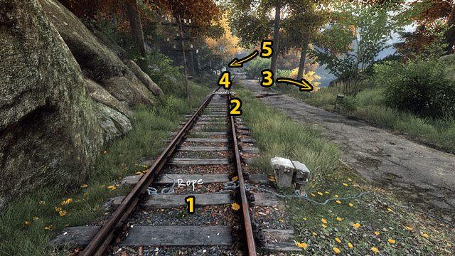 Po drodze zauważysz także linę (1), odcięte nogi (2), zwłoki (3), kanister oraz miejsce, w którym stała drezyna (4) - Śmierć na torach - Opis przejścia - Zaginięcie Ethana Cartera - poradnik do gry