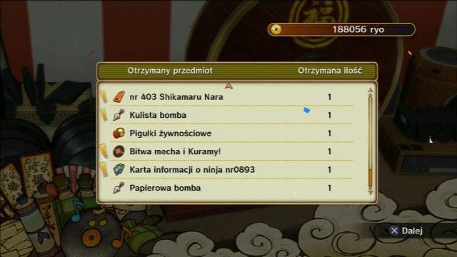Loteria pozwala na wylosowane ciekawych nagród. - Eksploracja wyspy klasa D - Światowy Turniej Ninja - Klasa D - Naruto Shippuden: Ultimate Ninja Storm Revolution - poradnik do gry