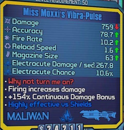 Kolejną bronią jakiej chcesz używać jest Miss Moxxis Vibra-Pulse - Nisha The Lawbringer - Klasy postaci - Borderlands: The Pre-Sequel! - poradnik do gry