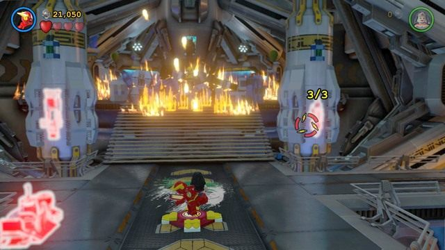Po wykonaniu platformy wejdź na nią jako Flash i zaznacz trzy obiekty, które są widoczne na ekranie - Firefly - Bossowie i taktyki - LEGO Batman 3: Poza Gotham - poradnik do gry