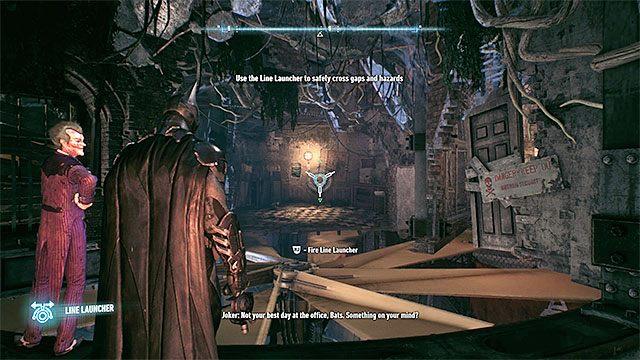 Wysłuchaj rozmowy z Robinem i rozpyl wybuchowy żel na pobliskich deskach żeby odblokować sobie dalsze przejście - Zinfiltrowanie sieci tuneli pod wyspą Miagani - Główny wątek fabularny - Batman: Arkham Knight - opis przejścia