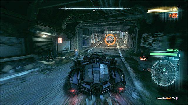 Powróć do batmobilu i wyrusz w pościg za wrogim pojazdem opancerzonym (APC) - Zatrzymanie wrogiego pojazdu opancerzonego i przesłuchanie kierowcy - Główny wątek fabularny - Batman: Arkham Knight - opis przejścia