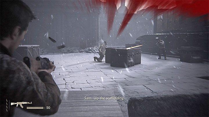 Po tym jak oczyścisz okolicę z najemników użyj zaczepu żeby dotrzeć do półek, na których pojawiali się zabici niedawno wrogowie - 9 - Ci, którzy zasłużą... - Opis przejścia - Uncharted 4: A Thiefs End - poradnik do gry