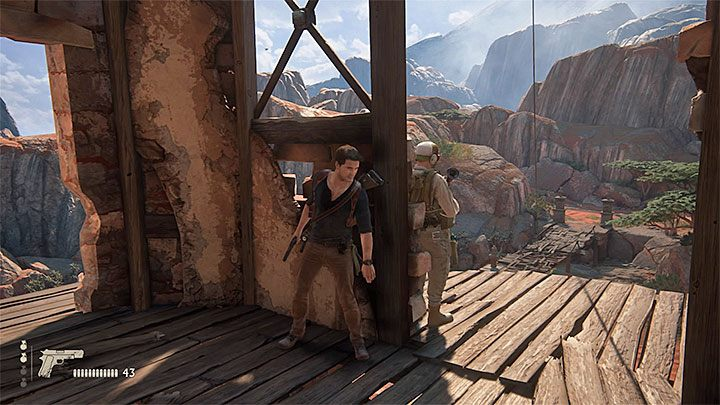 W następnej kolejności dobrze byłoby zakradnąć się do wieży i rozpocząć wspinaczkę na jej szczyt - 10 - Dwanaście wież - Opis przejścia - Uncharted 4: A Thiefs End - poradnik do gry
