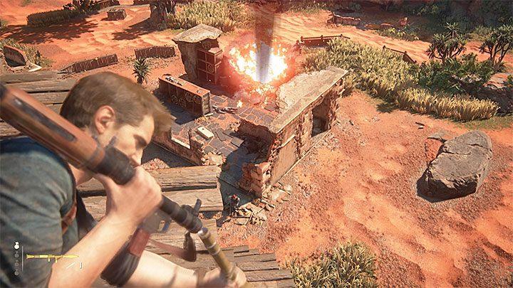 Po oczyszczeniu wieży z przeciwników możesz powrócić na dół i kontynuować skradanie się połączone z powolną eliminacją pozostałych wrogów lub od razu przystąpić do atakowania przeciwników z wykorzystaniem snajperki, zwykłego karabinu lub wyrzutni - 10 - Dwanaście wież - Opis przejścia - Uncharted 4: A Thiefs End - poradnik do gry