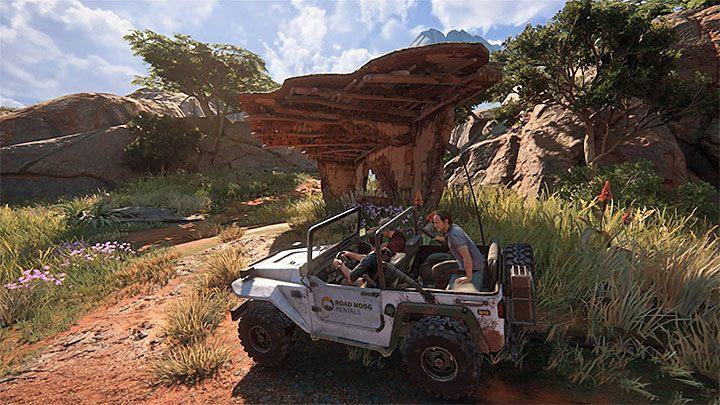 W trakcie tego przejazdu rozglądaj się za znajdującym się przy drodze dziesiątym kopcem, jak również za nowym zrujnowanym budynkiem - 10 - Dwanaście wież - Opis przejścia - Uncharted 4: A Thiefs End - poradnik do gry