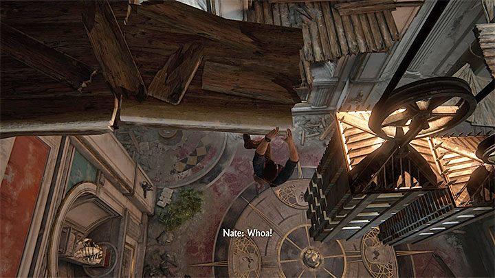 Przeskocz na sąsiednią półkę i następnie na ogromny ciężarek - 11 - Najciemniej pod latarnią - Opis przejścia - Uncharted 4: A Thiefs End - poradnik do gry