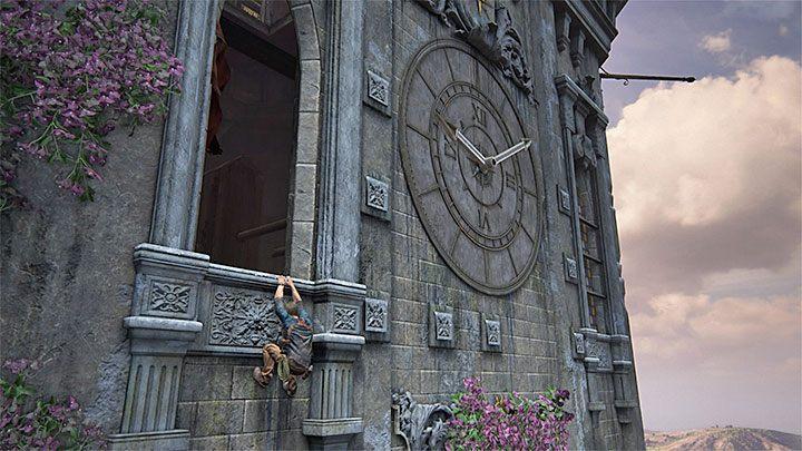 Wyskocz na chwilę przez okno i obejrzyj zegar zlokalizowany po prawej stronie - 11 - Najciemniej pod latarnią - Opis przejścia - Uncharted 4: A Thiefs End - poradnik do gry