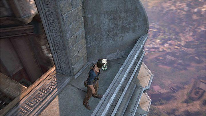 W dalszym ciągu przemieszczaj się w prawo i po zbliżeniu się do narożnika wieży zegarowej użyj linki z hakiem na górnym zaczepie - 11 - Najciemniej pod latarnią - Opis przejścia - Uncharted 4: A Thiefs End - poradnik do gry