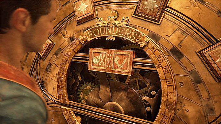 Podejdź do koła i obejrzyj znajdujące się nad nim dwie pierwsze pieczęcie - 11 - Najciemniej pod latarnią - Opis przejścia - Uncharted 4: A Thiefs End - poradnik do gry