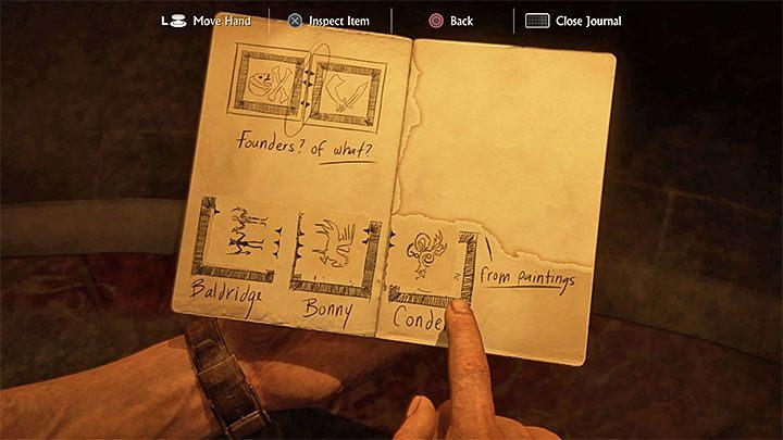 Nate automatycznie otworzy teraz swój dziennik, w którym będzie już miał przygotowane rysunki pieczęci oraz znajdujących się na ich obrzeżach czarnych trójkątów - 11 - Najciemniej pod latarnią - Opis przejścia - Uncharted 4: A Thiefs End - poradnik do gry