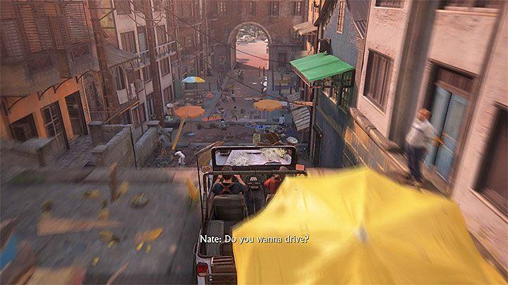 W trakcie podróży jeepem nie przywiązuj zbyt dużej wagi do ustalania trasy przejazdu, bo wbrew temu co mógłbyś sądzić jest ona dosyć liniowa i przeważnie musisz podążać tam gdzie zwróci się kamera - 11 - Najciemniej pod latarnią - Opis przejścia - Uncharted 4: A Thiefs End - poradnik do gry