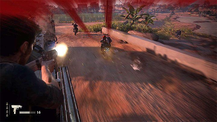 Nate po pewnym czasie zacznie być ostrzeliwany przez przeciwnika okupującego plandekę ciężarówki, przez którą jest ciągnięty - 11 - Najciemniej pod latarnią - Opis przejścia - Uncharted 4: A Thiefs End - poradnik do gry