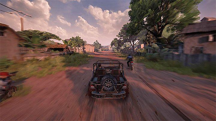 W końcowej części pościgu niektórzy wrogowie mogą zacząć podejmować próby przeskakiwania na prowadzony przez Natea łazik - 11 - Najciemniej pod latarnią - Opis przejścia - Uncharted 4: A Thiefs End - poradnik do gry