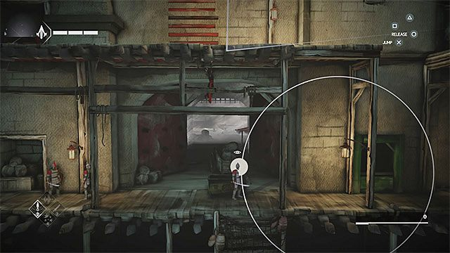 Udaj się w prawo i zatrzymaj po dotarciu do rozmawiających strażników - Sekwencja 4 - Łowca niewolników (The Slaver) - Assassins Creed Chronicles: China - poradnik do gry