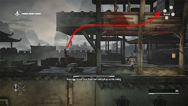 Opuść się przy krawędzi i zacznij przemieszczać w lewo w pozycji wiszącej - Sekwencja 4 - Łowca niewolników (The Slaver) - Assassins Creed Chronicles: China - poradnik do gry