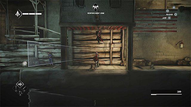 Użyj teraz lewej drabinki i uzupełnij po drodze zapas strzałek dźwiękowych - Sekwencja 4 - Łowca niewolników (The Slaver) - Assassins Creed Chronicles: China - poradnik do gry