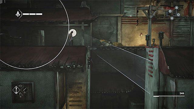 Powróć na górę, a konkretnie do obszaru sąsiadującego ze stogiem siana, w którym wylądowałeś po wykonaniu skoku wiary - Sekwencja 4 - Łowca niewolników (The Slaver) - Assassins Creed Chronicles: China - poradnik do gry