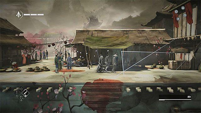 Idź dalej i zatrzymaj się w miejscu, w którym napotkasz wroga z bronią palną - Sekwencja 6 - Poszukiwania (The Search) - Assassins Creed Chronicles: China - poradnik do gry