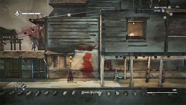 Powróć na górę i zbliż się do wartowników po prawej stronie - Sekwencja 6 - Poszukiwania (The Search) - Assassins Creed Chronicles: China - poradnik do gry