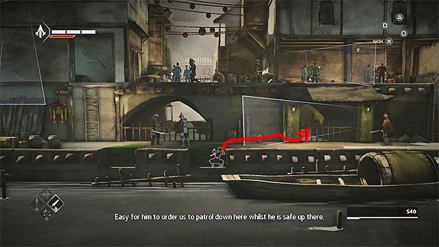 Zejdź po drabinie i schowaj się w dolnej kryjówce - Sekwencja 6 - Poszukiwania (The Search) - Assassins Creed Chronicles: China - poradnik do gry