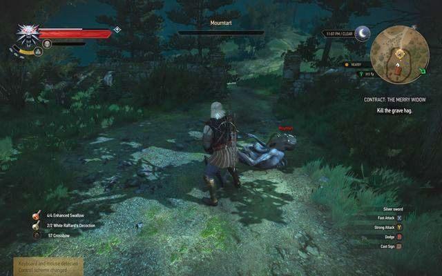 Z pomocą Aard powalisz przeciwnika jednym ciosem - Zlecenia wiedźmińskie | Krzywuchowe Moczary - Wiedźmin 3: Dziki Gon - poradnik do gry