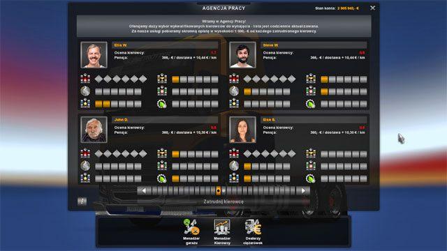 Przy wyborze pracowników zwracaj uwagę na ocenę pracy - im wyższa tym lepiej - Agencje pracy - Elementy gry - Euro Truck Simulator 2: Skandynawia - poradnik do gry