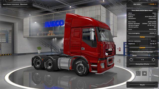 Wybór auta jest zależny od posiadanych pieniędzy oraz osobistych preferencji co do marki i wyglądu - Dealerzy ciężarówek (wszyscy) - Elementy gry - Euro Truck Simulator 2: Skandynawia - poradnik do gry