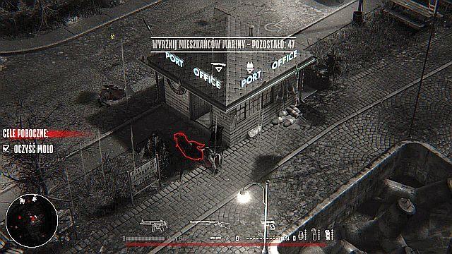 Wracając na stały ląd zwróć uwagę na niewielki budynek (z szyldem Port Office) zlokalizowany na północ od wyjścia z molo - wewnątrz znajdziesz Strzelbę i Kamizelkę Kuloodporną - Misja 2 - Marina - Opis przejścia - Hatred - poradnik do gry