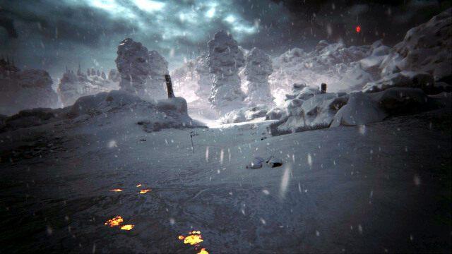 Po filmiku zauważysz płonące ślady idące w stronę czterech obelisków - Kamienny krąg - Akt II - opis przejścia - Kholat - poradnik do gry
