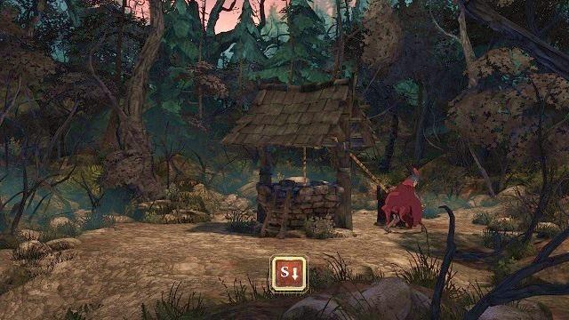 Gdy obejdziemy ją z drugiej strony, znajdziemy korbkę, dzięki której możliwe będzie spuszczenie w dół liny - Podziemia - Magiczne lustro - Kings Quest - poradnik do gry