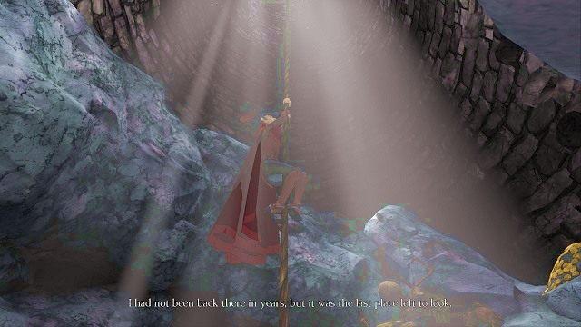 Drugi raz wchodzimy w interakcję ze studnią, aby nasz bohater mógł bezpiecznie zejść na jej sam dół - Podziemia - Magiczne lustro - Kings Quest - poradnik do gry