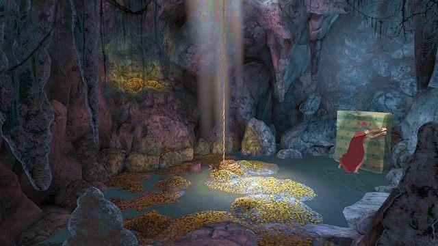 Gdy staniemy na ziemi, musimy podejść do materaca, który opiera się o ścianę pieczary - Podziemia - Magiczne lustro - Kings Quest - poradnik do gry