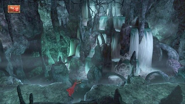 Po pewnym czasie natrafimy na przepaść, którą jednak nasz bohater potrafi przeskoczyć w sposób automatyczny - Podziemia - Magiczne lustro - Kings Quest - poradnik do gry