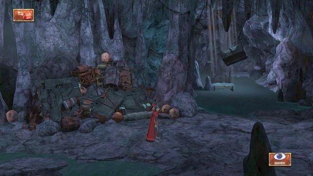 Przemierzając korytarz, możemy wejść w interakcję z kupą rupieci, aby usłyszeć sentymentalny wywód narratora - Podziemia - Magiczne lustro - Kings Quest - poradnik do gry