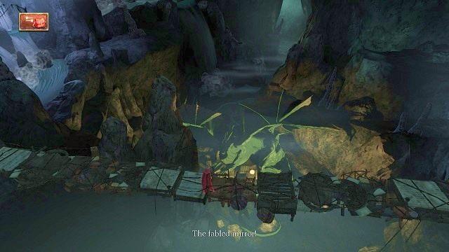 Następnie będziemy musieli przejść po chwiejnym moście - nie występuje tutaj żadna sekwencja, którą można by było popsuć, a w rezultacie spaść w przepaść - Podziemia - Magiczne lustro - Kings Quest - poradnik do gry