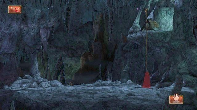 Po drugiej stronie znajdziemy linę, po której wspinamy się na półkę skalną - Podziemia - Magiczne lustro - Kings Quest - poradnik do gry